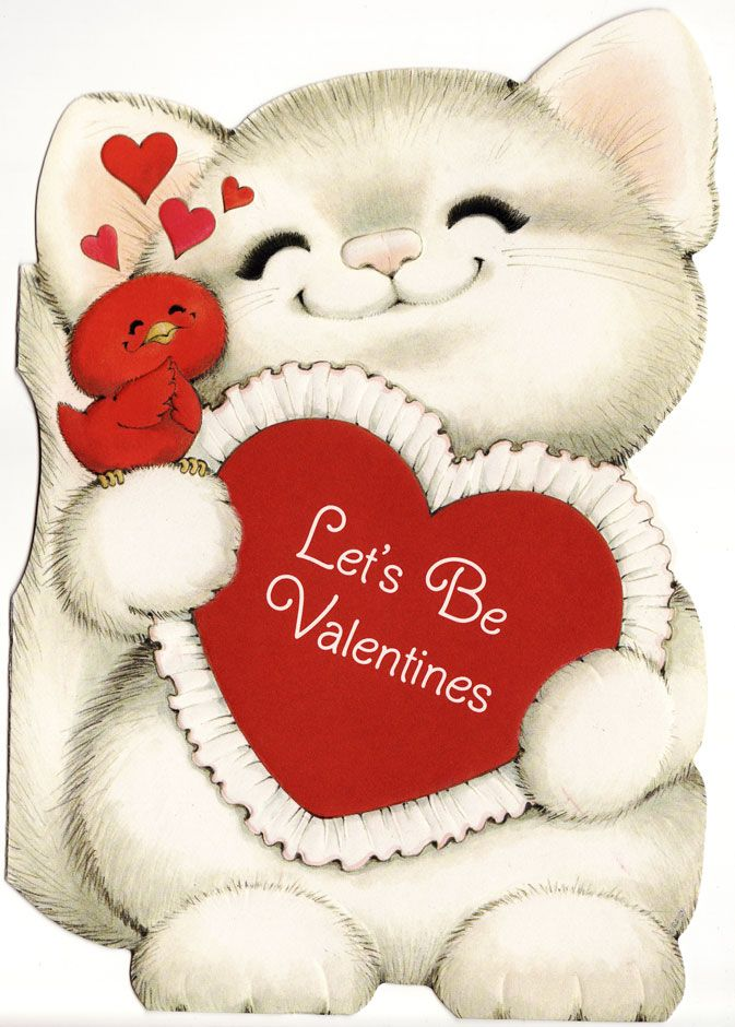 Valentine cat & bird.