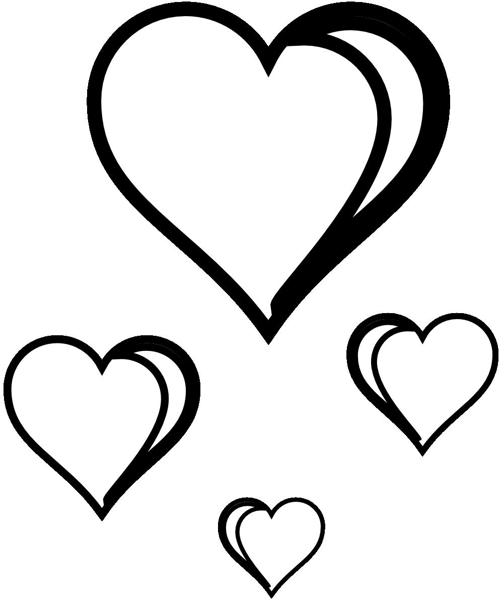 999x1198 Valentine Clip Art Black And White.