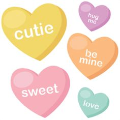 Free Photoshop Valentine Candy Hearts Clip Art PNG Image.