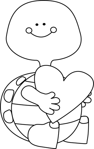 Black and White Valentine\'s Day Turtle.