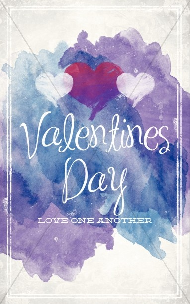 Love One Another Valentine\'s Day Church Bulletin.