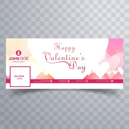 Abstract valentine\'s day facebook cover design illustration.