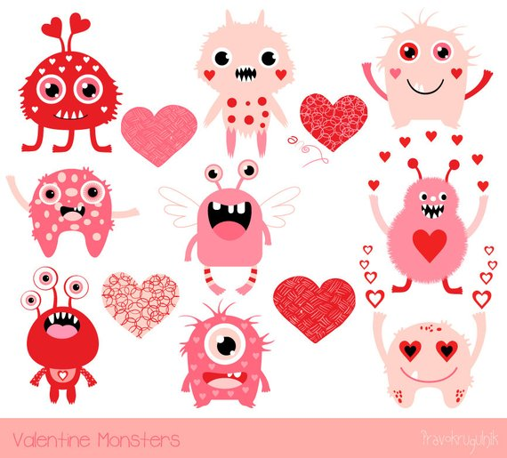 Cute Valentine monsters clipart, Kids Valentine clipart.