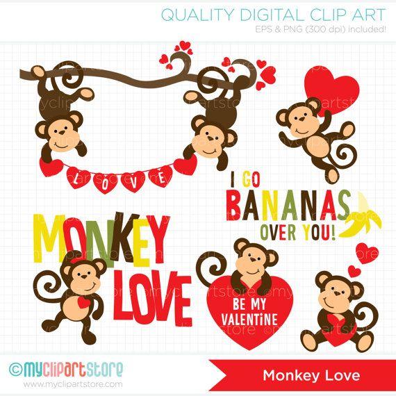Monkey Love / Valentine Clip Art / Digital by MyClipArtStore.