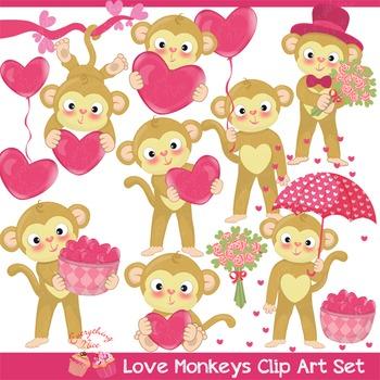 Love Valentine Monkeys Clipart Set.
