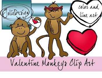 Valentines Day Monkey Clip Art.