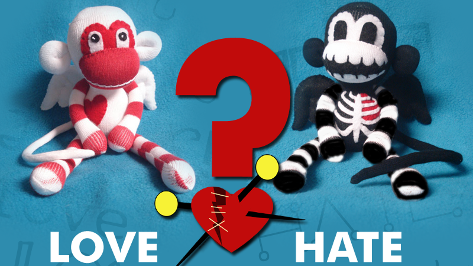 Love/Hate Valentine\'s Day Sock Monkey Project by Stacey Jean.