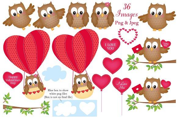 Valentine\'s Day Owl Clipart.