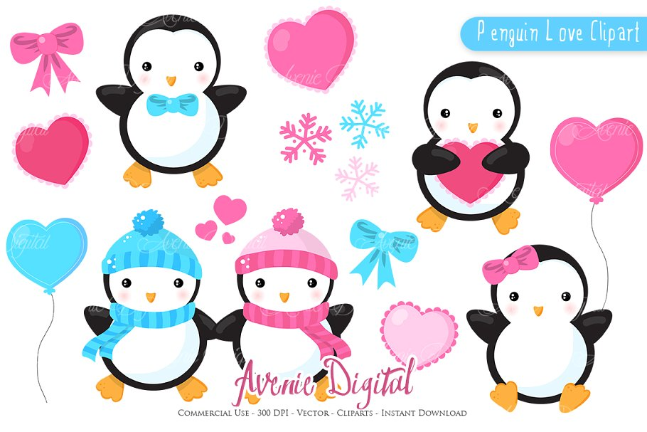 Penguin Valentines day ClipArt + eps.