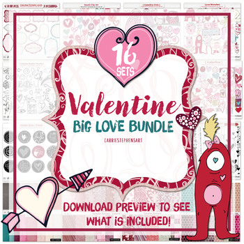 Valentines Clipart Bundle: Valentine Digital Papers, Pink, Purple and red.