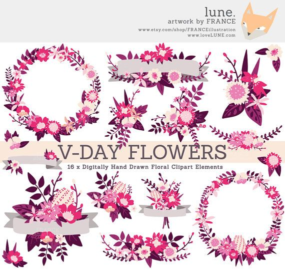 3 FOR 2. Valentine Clipart, Pink + Purple Wedding Wildflower.