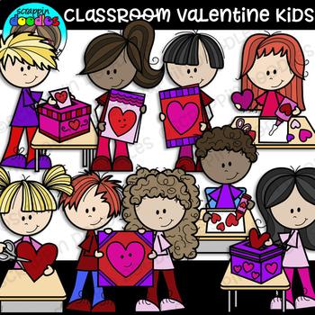 Classroom Valentine Kids Clipart {Scrappin Doodles Clipart}.