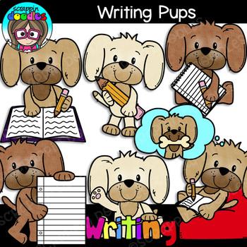 Writing Pups Clipart {Scrappin Doodles Clipart}.