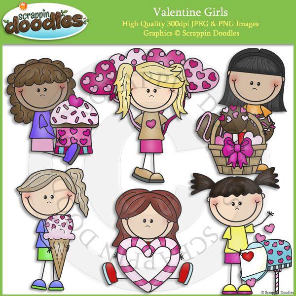 Valentine Girls Clip Art.