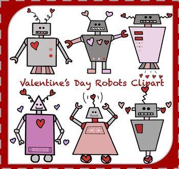 Valentine\'s Day Robots / Valentine\'s Day Clipart.