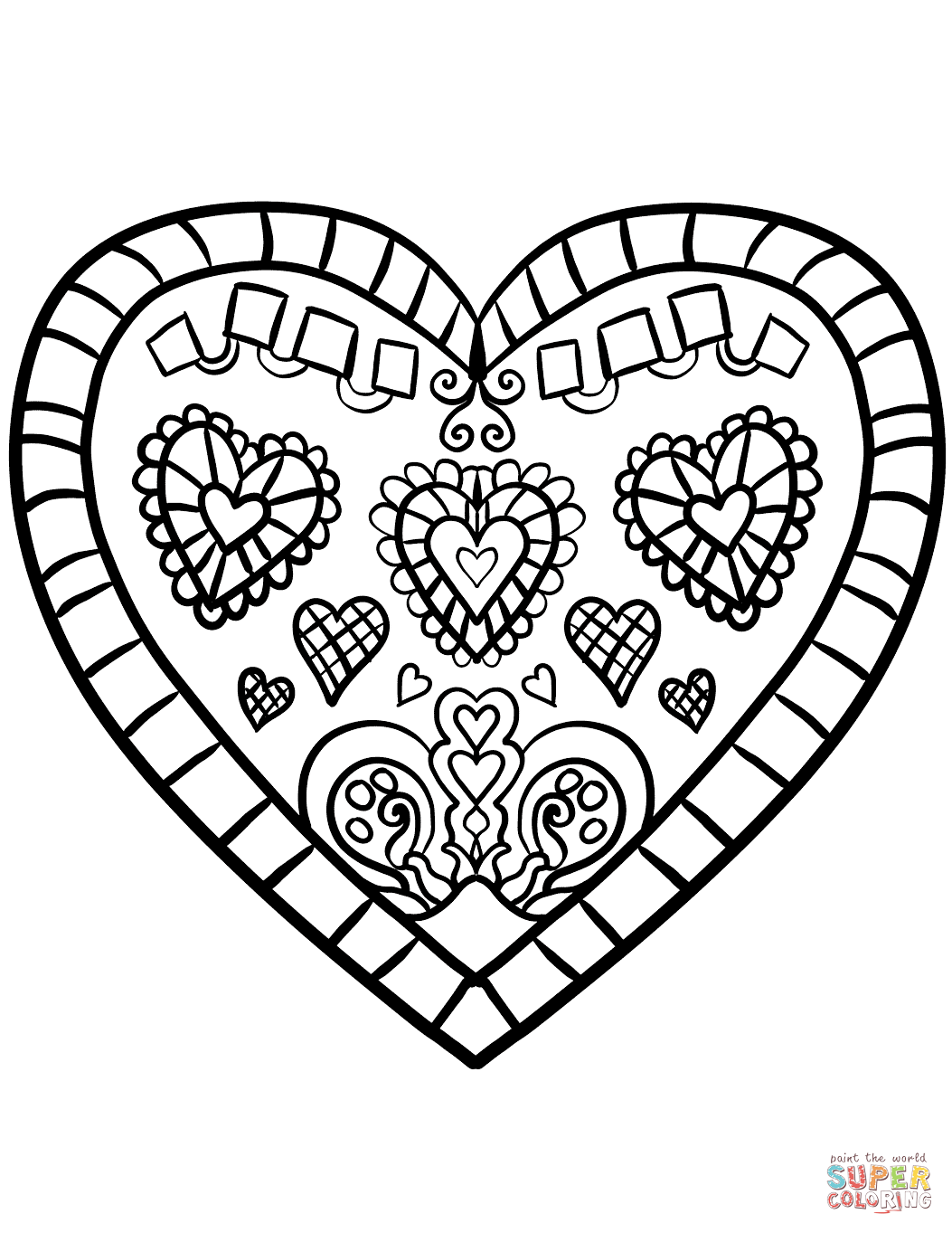 Decorated Heart coloring page.