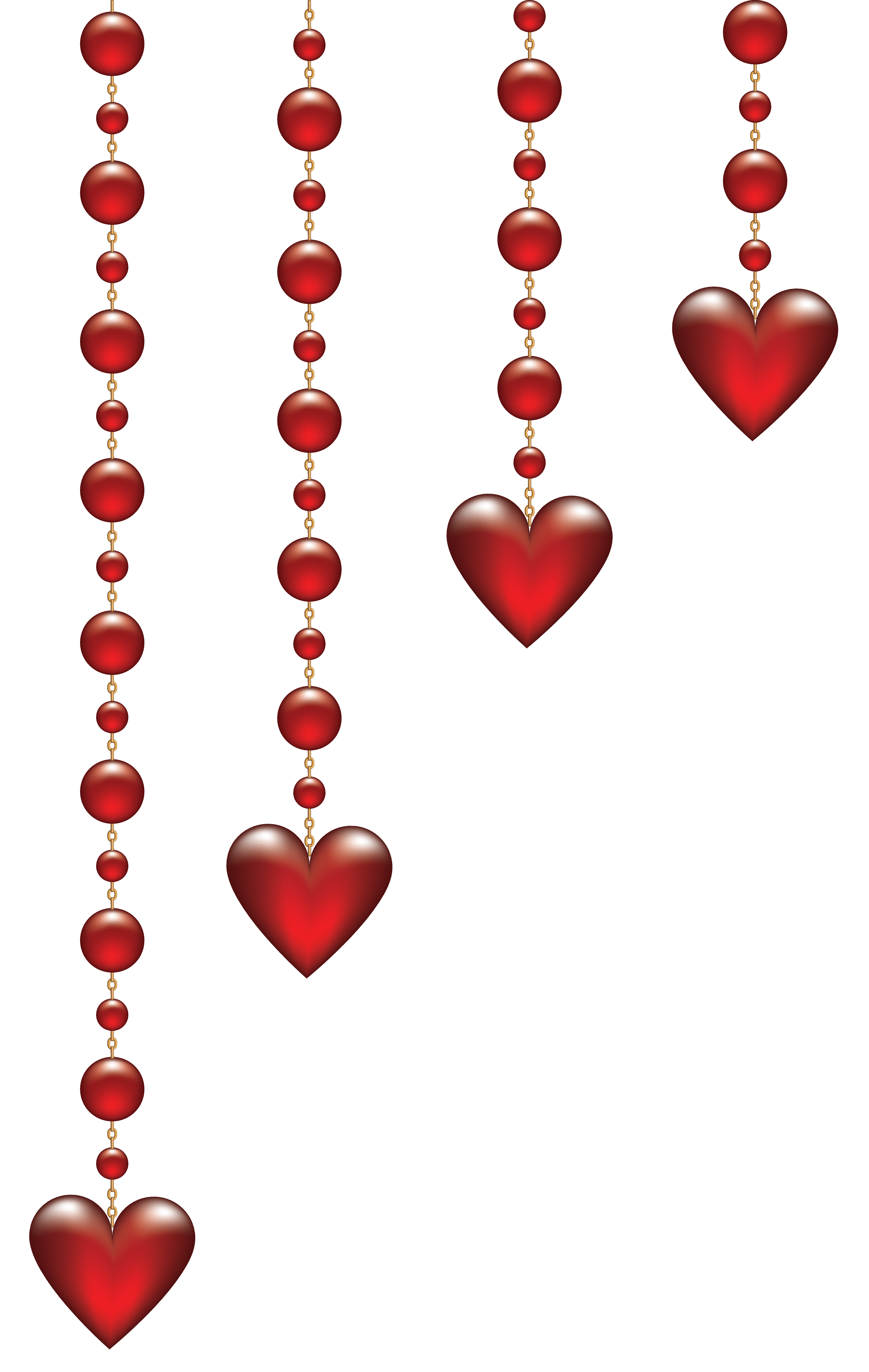 Valentine\'s Day Hanging Hearts Transparent PNG Clip Art.