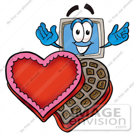 Clip Art Graphic of a Desktop Computer Cartoon Character With an.