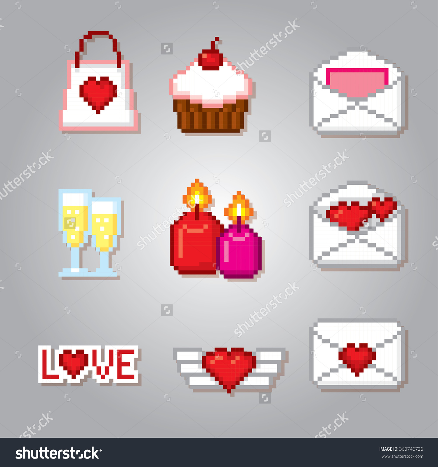 Valentine Day Icons Set. Pixel Art. Old School Computer Graphic.