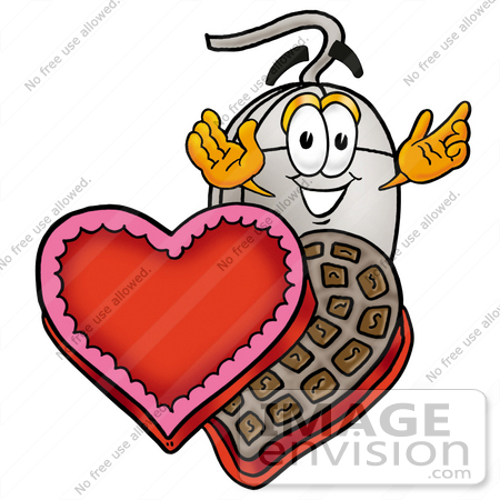Clip Art Graphic of a Wired Computer Mouse Cartoon Character With.