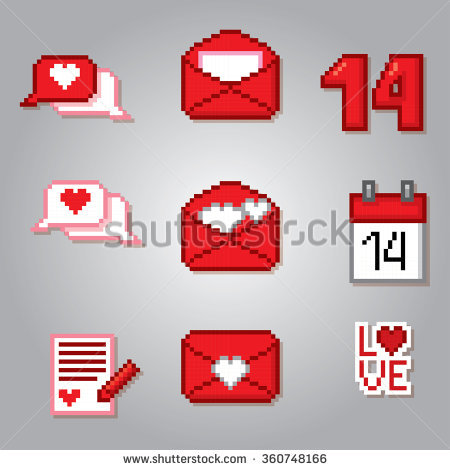 Valentine Day Icons Set Pixel Art Stock Vector 360748187.