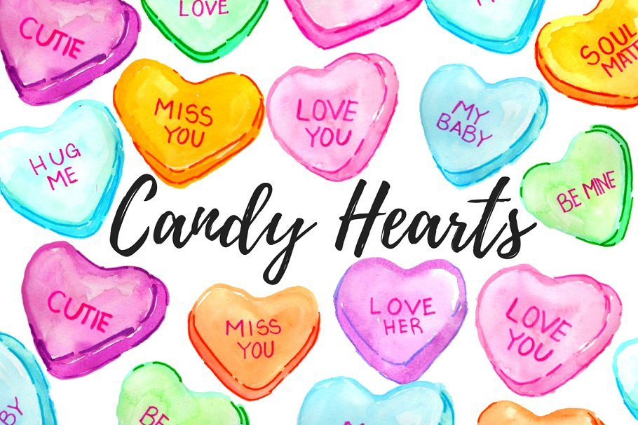 Valentines Candy Hearts Clipart.