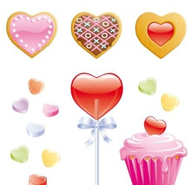 Cookies, candy hearts, lollipop and valentine cupcake.