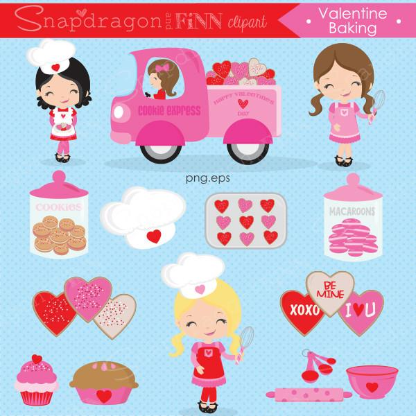 Valentine Baking Clipart & Papers.
