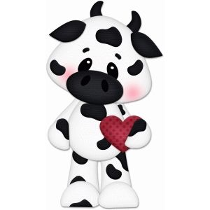 Silhouette Design Store: valentine cow holding heart pnc.