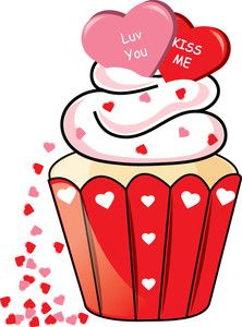 Cupcake Clipart Image: Clipart Illustration of a Valentine.