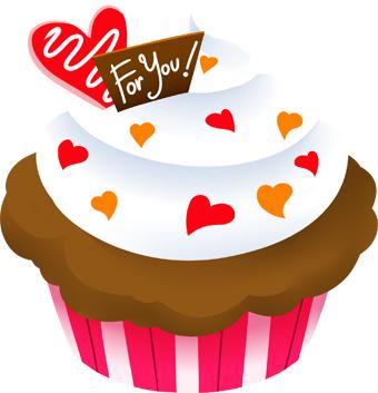 Valentines Cupcake clip art.