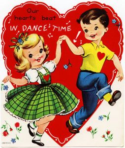 vintage dance valentine, retro children valentine, dance.
