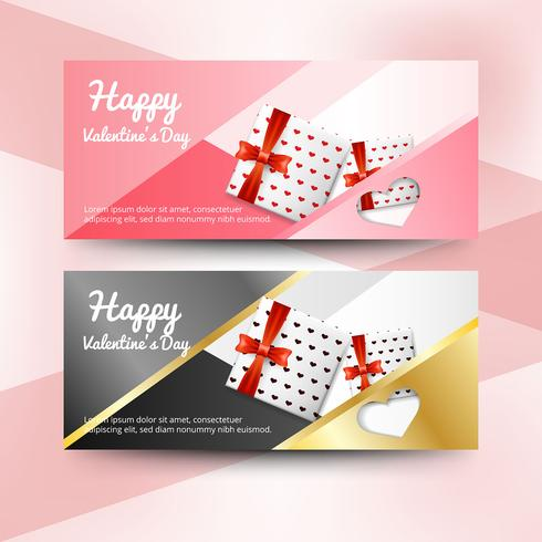 Realistic valentine\'s day banners.
