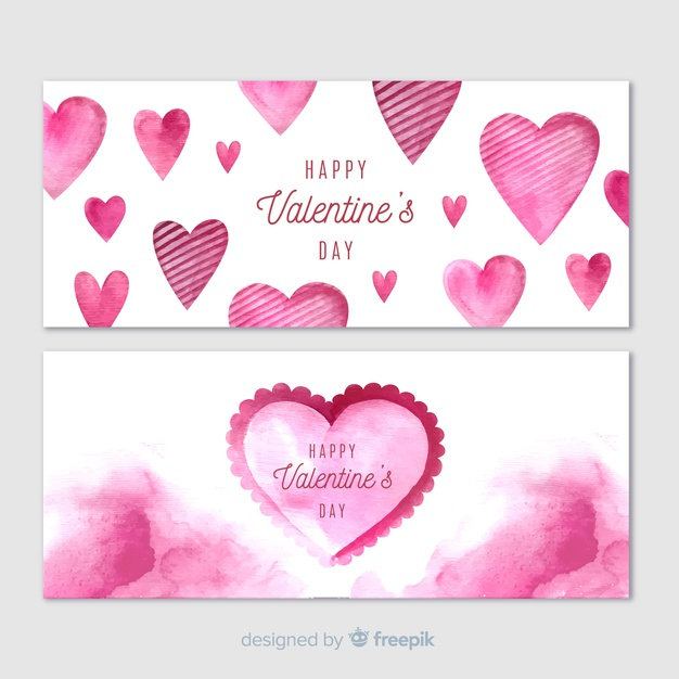 Watercolor valentine\'s day banners Vector.