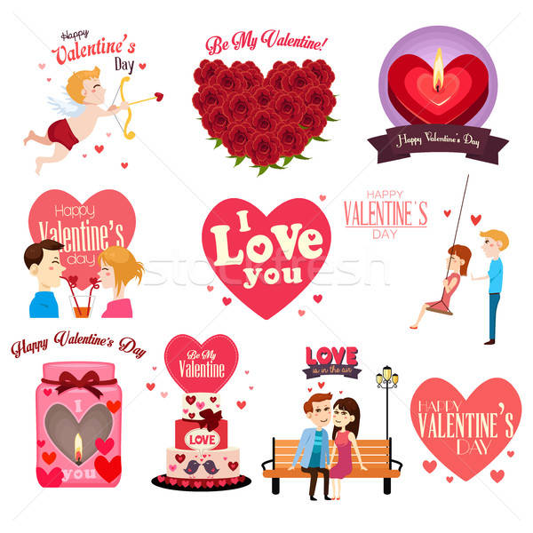 Valentines Day Clipart Icon Set vector illustration.