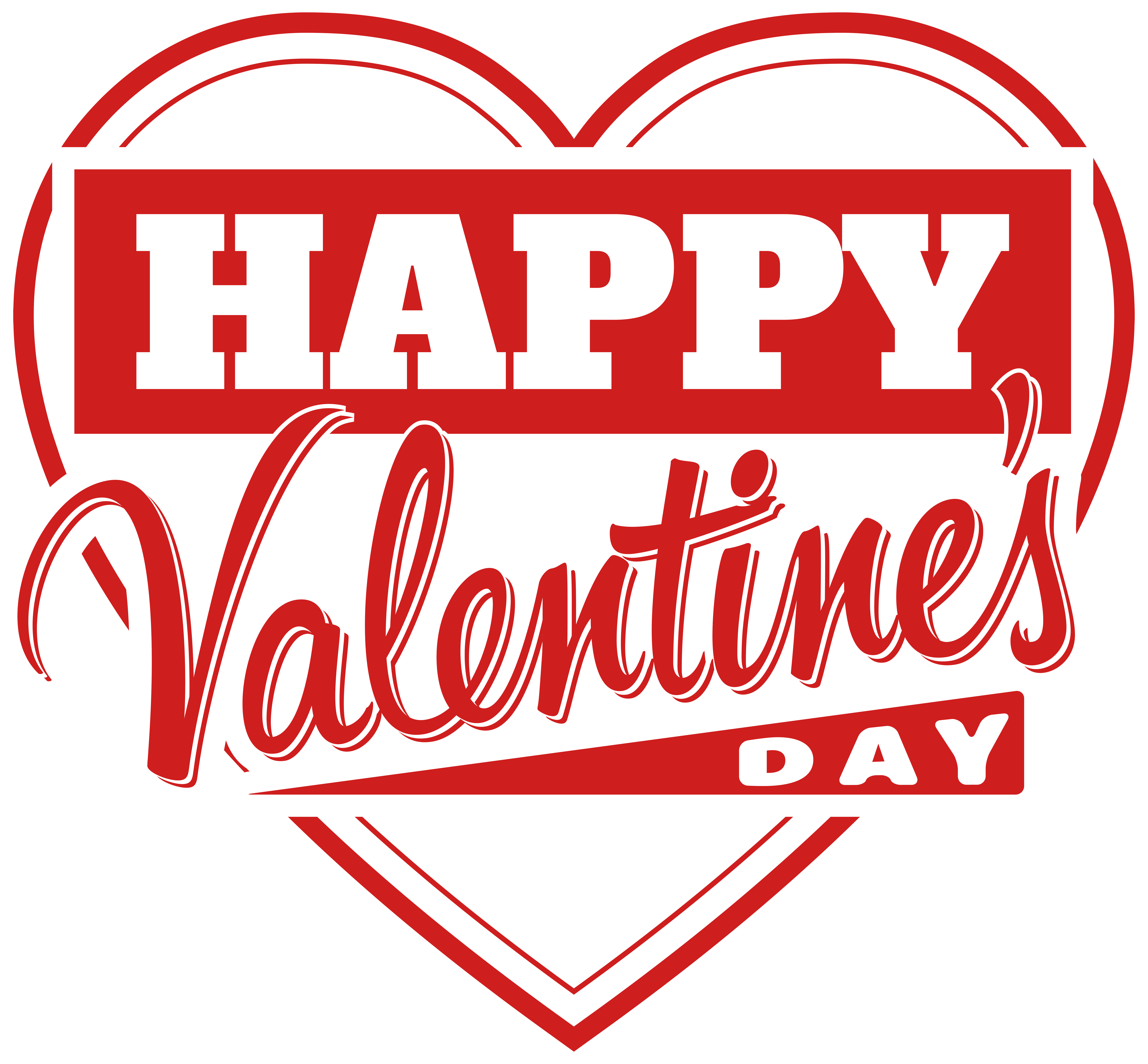 Happy Valentine\'s Day Heart Transparent PNG Clip Art Image.