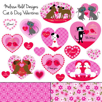 Cat and Dog Valentine Clipart.