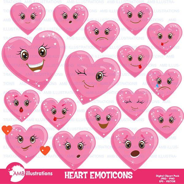 Valentine Hearts clipart, Emoji clipart, emoticon clipart.