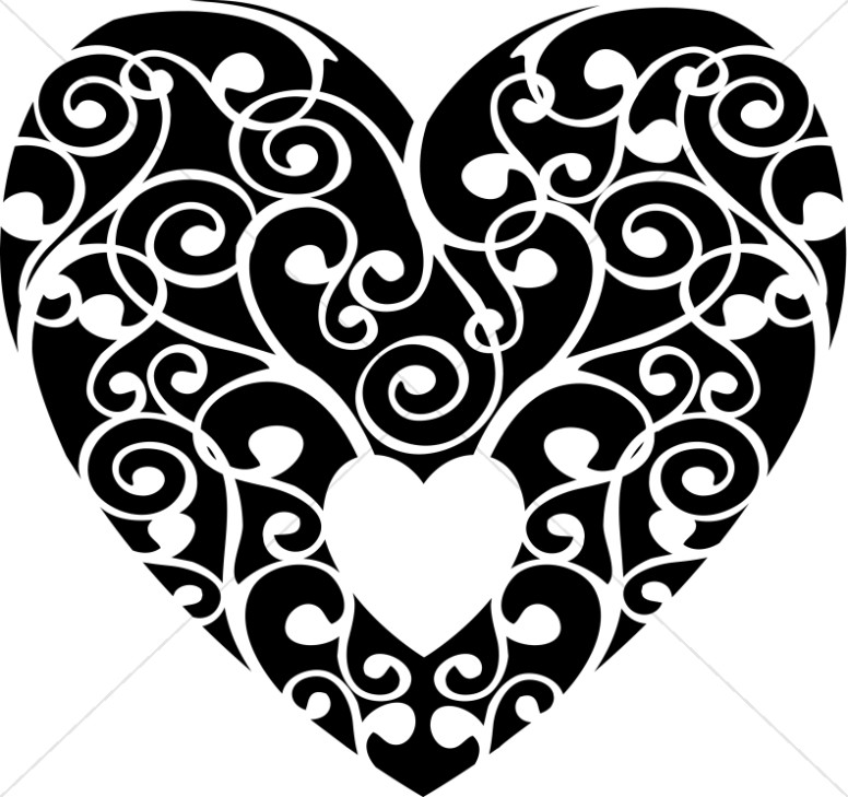 Valentines Day Heart Clipart Black And White.