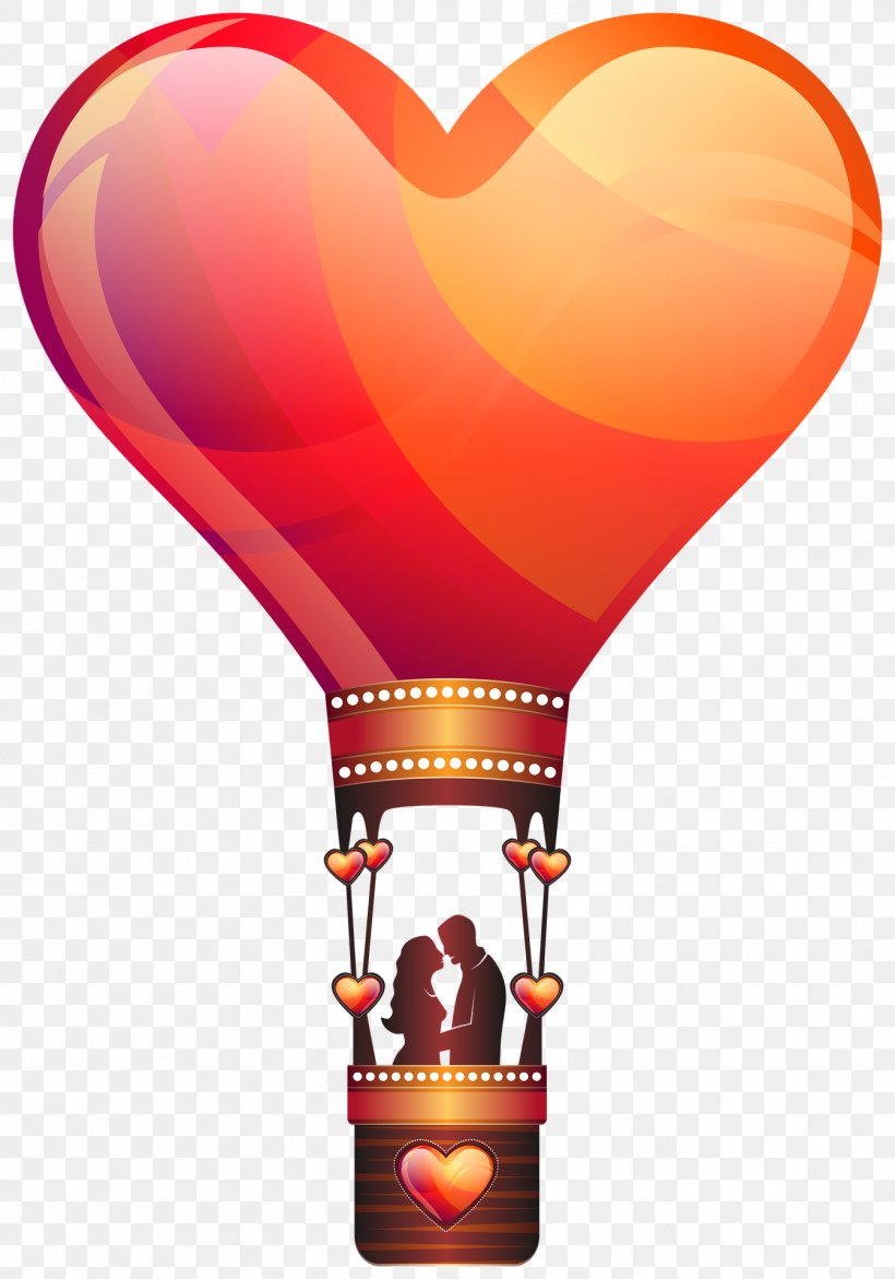 Love Valentine\'s Day Hot Air Balloon Romance, PNG.