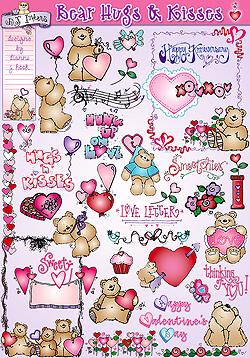 Bear Hugs & Kisses Valentine clip art by DJ Inkers.