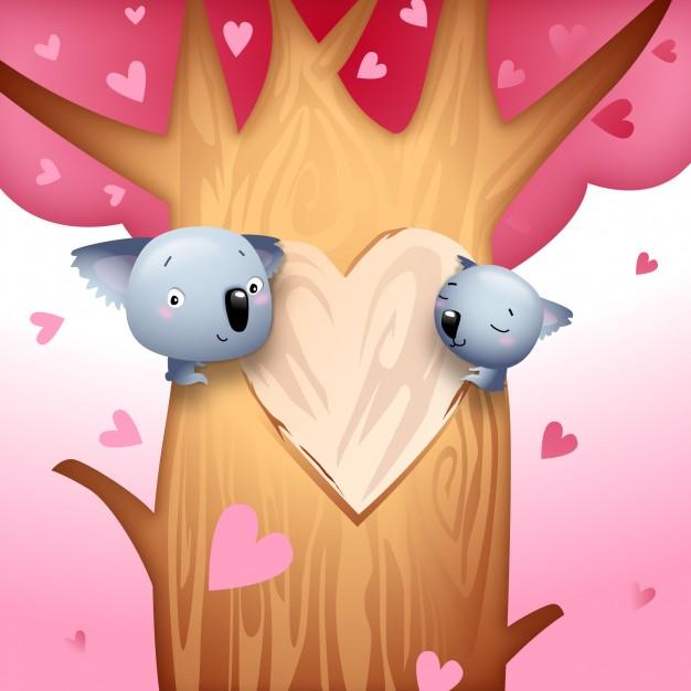 Valentine\'s day koala bears with love hearts on tree vector.