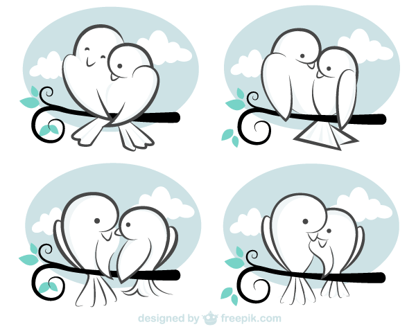 Valentine\'s Day Vector, Cute Cartoon Love Birds Image.