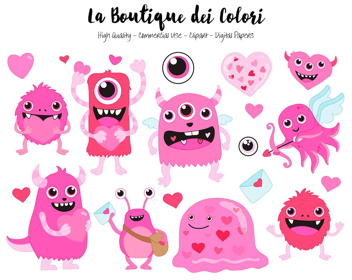 Pink Valentine\'s Day Monster Clipart.
