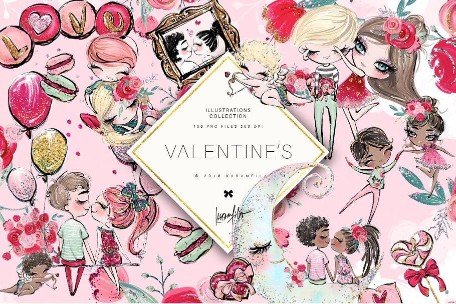 Valentines Day Clipart ~ Illustrations ~ Creative Market.