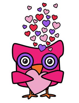 Valentine Owls Clipart.
