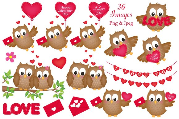Valentine\'s Day Owl Clipart.