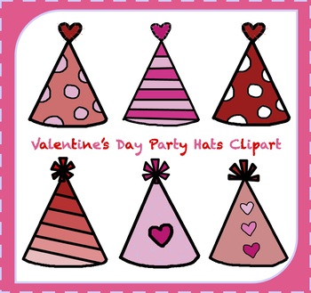 FREE Valentine\'s Day Clipart / Party Hats Clipart.