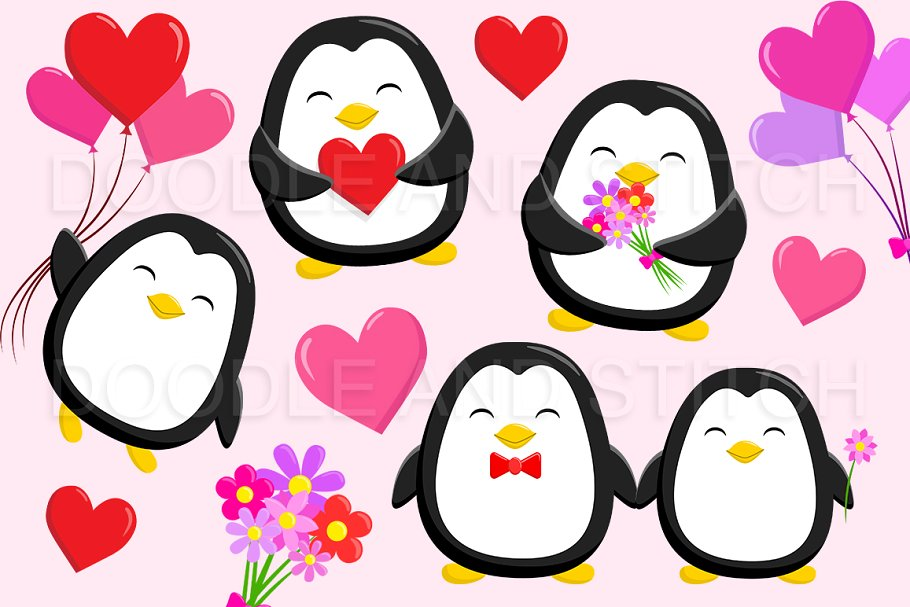 Valentines Penguin Clipart Designs.