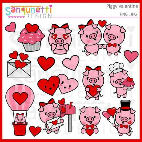 Valentine pig clipart, planner digital art, kawaii graphics.